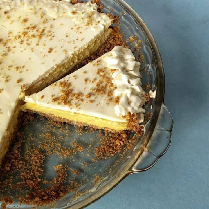 Cream Cheese Pie with Lemon and Sour Cream Topping