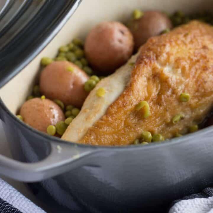 Chicken Vesuvio in Dutch oven