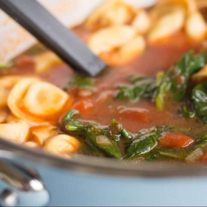 Pot of tortellini soup with ladle