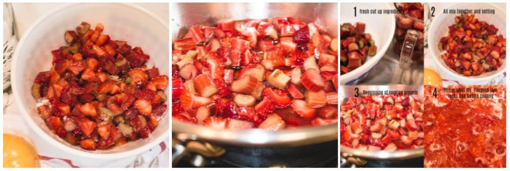 steps to make strawberry rhubarb jam