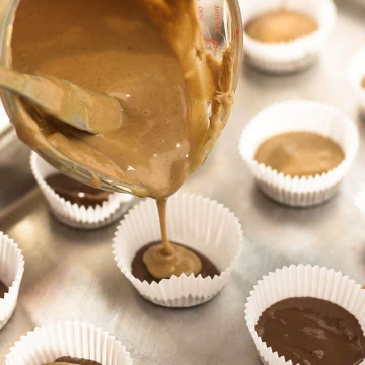pouring peanut butter into mini cups
