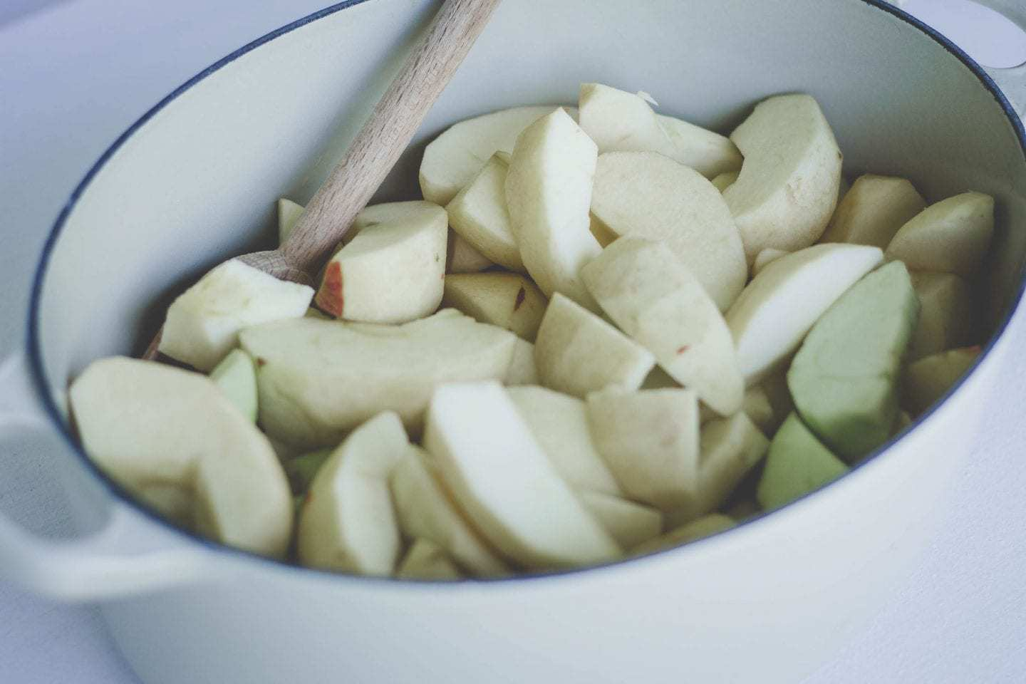 sliced apples in a dutch oven