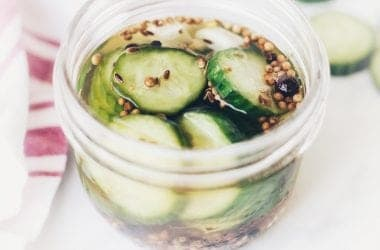 Small jar of homemade pickles