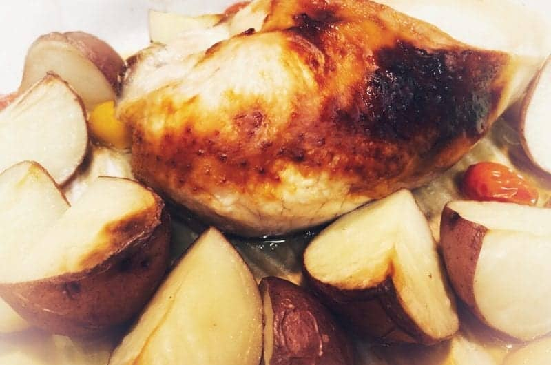 baked brown sugar chicken with potatoes