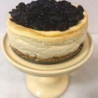 Greek Yogurt Cheesecake with Black Cherry Topping