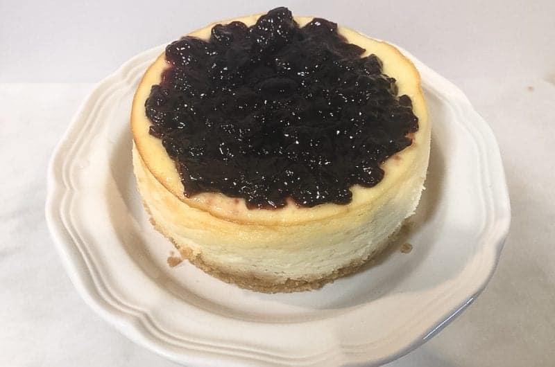 greek yogurt cheesecake on serving plate