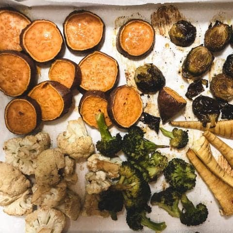 roasted sweet potatoes and parsnips on sheet pan