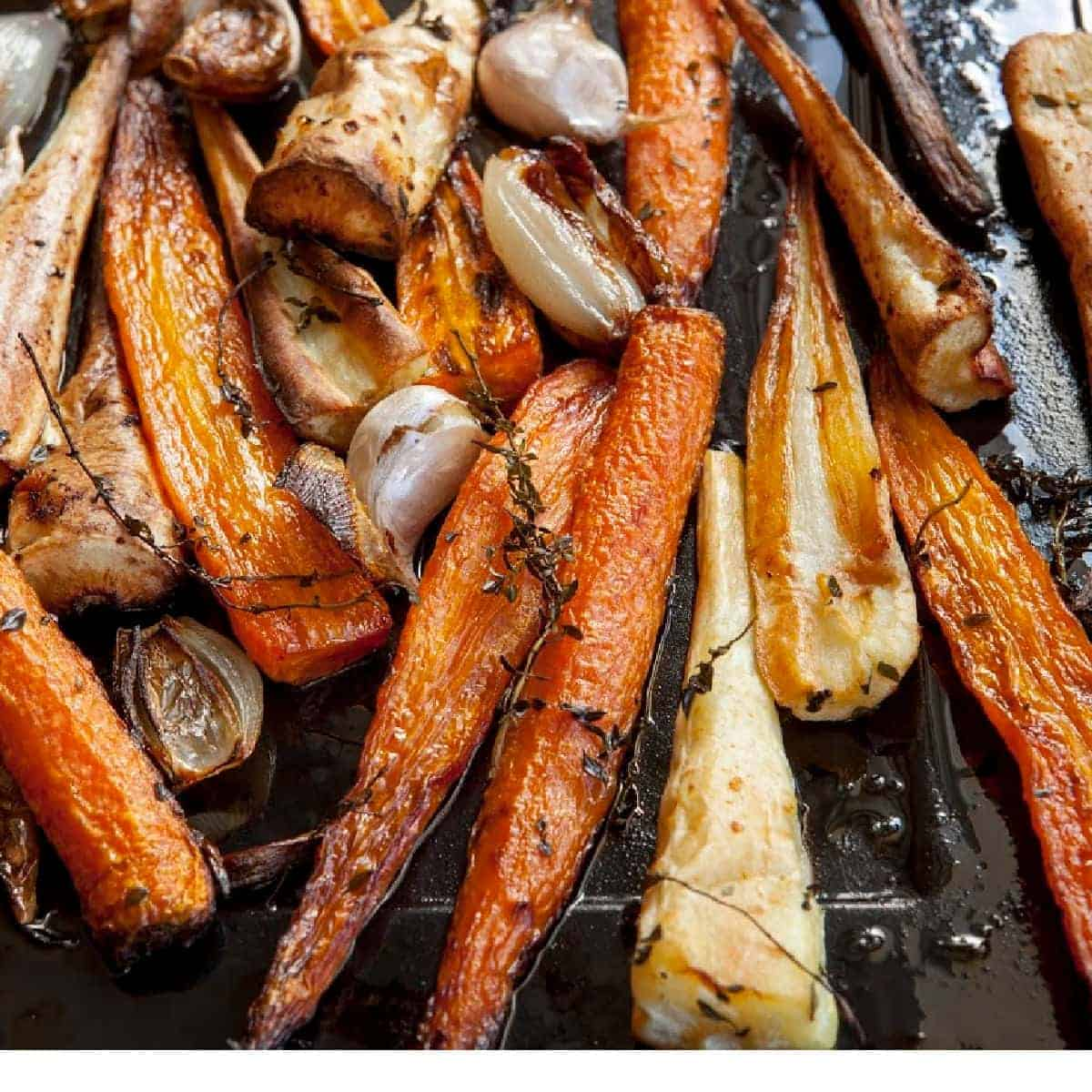 roasted carrots and parsnips with garlic