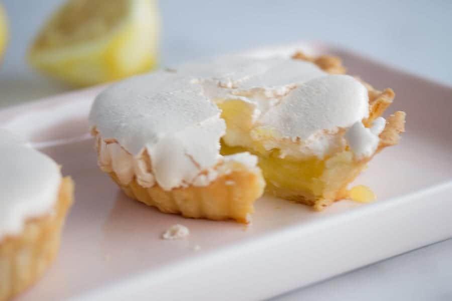 lemon meringue tartlet on plate