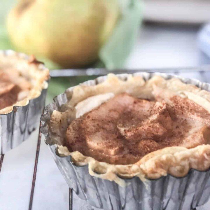 puff pastry pear tart in individual tart pan