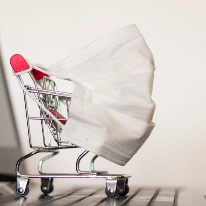 shopping cart and mask